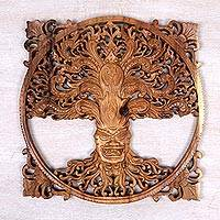 Wood wall relief, 'Trunyan Tree' - Hand Carved Wood Relief Panel of a Tree from Indonesia