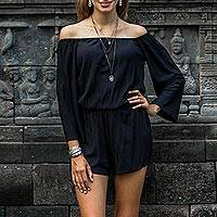 Rayon off-shoulder romper, 'City Diva' - Black Long Sleeved Rayon Romper from Indonesia