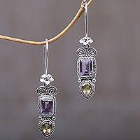 Amethyst and citrine dangle earrings, 'Colorful Roots' - Amethyst and Citrine Floral Dangle Earrings from Bali