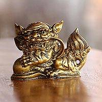 Resin figurine, 'Barongsai Guardian' - Handcrafted Chinese Barong Lion Golden Resin Figurine