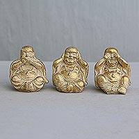 Resin figurines, 'Charming Buddhas' (set of 3) - Three Gold-Tone Resin Buddha Figurines from Bali