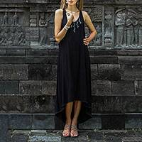 Rayon hi low dress, 'Lightning Queen' - Hi Low Black Rayon Blend Sleeveless Dress from Bali