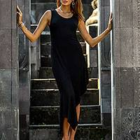 Rayon blend asymmetrical dress, 'Poised Princess' - Classic Asymmetrical Rayon Blend Black Dress from Bali