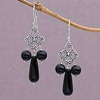 Onyx chandelier earrings, 'Black Droplets' - Onyx and Sterling Silver Chandelier Earrings from Indonesia