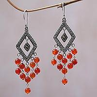 Gold accent carnelian chandelier earrings, 'Galungan Rhombus' - Gold Accent Carnelian Chandelier Earrings from Indonesia