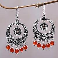 Gold accented carnelian chandelier earrings, 'Fiery Rain' - Circular Gold Accent Carnelian Chandelier Earrings