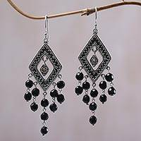 Gold accent onyx chandelier earrings, 'Galungan Rhombus' - Gold Accent Onyx Rhombus Chandelier Earrings from Bali