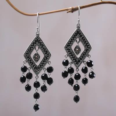 Gold accent onyx chandelier earrings, Galungan Rhombus