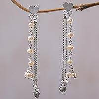 Cultured pearl waterfall earrings,