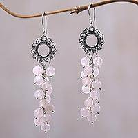 Rose quartz dangle earrings, 'Rosy Blessing' - Rose Quartz and Sterling Silver Dangle Earrings