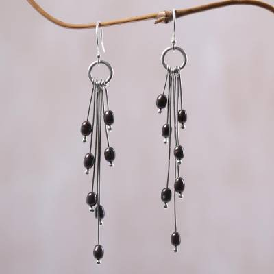 Cultured pearl dangle earrings, 'Mystical Monsoon' - Cultured Pearl and Sterling Silver Dangle Earrings