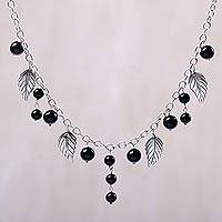 Onyx pendant necklace, 'Lucky Manggis' - Black Onyx Leaf Pendant Necklace from Indonesia