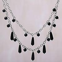 Onyx pendant necklace, 'Sophisticated Princess' - Onyx and Sterling Silver Pendant Necklace from Indonesia