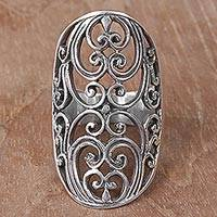 Sterling silver cocktail ring, 'Sylvan Shield' - Indonesian Handmade Sterling Silver Ring with Swirl Motifs