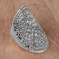 Sterling silver cocktail ring, 'Stone Shield' - Indonesian Handmade Sterling Silver Ring with Swirl Motifs