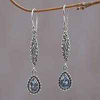 Blue topaz dangle earrings, 'Blue Nirvana' - Blue Topaz and Sterling Silver Dangle Earrings from Bali