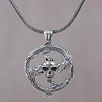 Sterling silver pendant necklace, 'Dragon Skull' - Sterling Silver Dragon and Skull Pendant Necklace from Bali