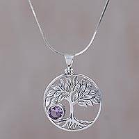 Amethyst pendant necklace, 'Sandalwood Tree' - Amethyst and Sterling Silver Tree Pendant Necklace from Bali