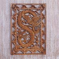 Wood relief panel, 'Mythical Match' - Dragon and Phoenix Wood Wall Relief Panel from Indonesia