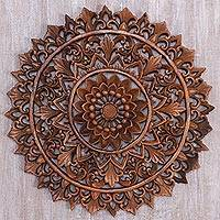 Wood relief panel, 'Padma Parade' - Circular Floral Wood Wall Relief Panel from Indonesia