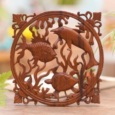 Wood relief panel, 'Life of the Sea' - Suar Wood Wall Relief Panel of Sea Life from Indonesia