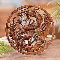 Wood relief panel, 'Enraged Dragon' - Suar Wood Wall Relief Panel of a Dragon from Indonesia