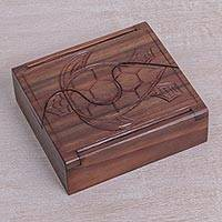 Wood jewelry box, 'Turtle Secret' - Sono Wood Jewelry Box with Sea Turtle Design
