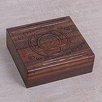 Wood jewelry box, 'Temple of the Sun' - Hand Carved Sono Wood Jewelry Box from Indonesia