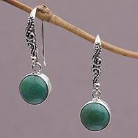 Turquoise dangle earrings, 'Purity of Moonlight' - Turquoise and Sterling Silver Earrings Handcrafted in Bali