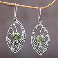 Peridot dangle earrings, 'Green Wings' - Balinese 925 Sterling Silver Earrings with Peridot