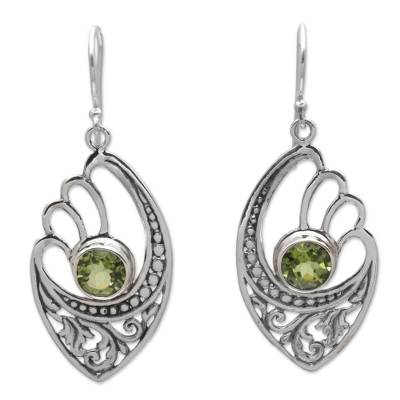 Balinese 925 Sterling Silver Earrings with Peridot