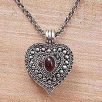 Garnet locket necklace, 'Garnet Love' - Garnet and Sterling Silver Heart Locket Necklace
