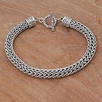 Sterling silver braided bracelet, 'Dragon's Dream' - Unisex Sterling Silver Chain Bracelet from Indonesia