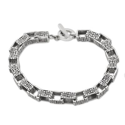 Handcrafted Belinese Sterling Silver Unisex Link Bracelet