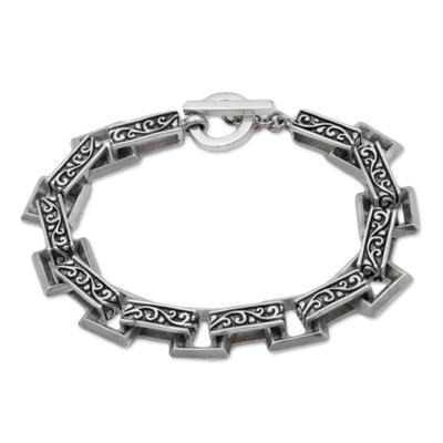 Indonesian Sterling Silver Link Bracelet with Swirl Motifs
