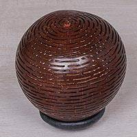 Coconut shell sculpture, 'Swirling Beats' - Hand Made Coconut Shell Sculpture from Indonesia