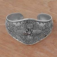 Sterling silver cuff bracelet, 'Windy Garden' - Handcrafted Sterling Silver Cuff Bracelet from Indonesia