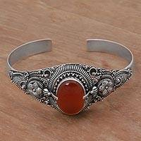 Carnelian cuff bracelet, 'Bright Balinese Magic' - Ornate Balinese Carnelian and Sterling Silver Cuff Bracelet