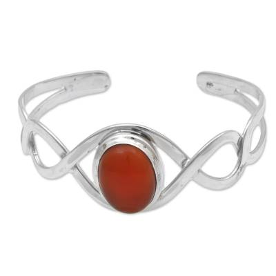 Carnelian and Sterling Silver Cuff Bracelet from Indonesia