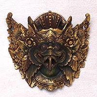 Wood mask, 'Kind of Birds' - Acacia Wood Wall Mask of Garuda from Indonesia