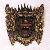 Wood mask, 'Narasinga' - Acacia Wood Wall Mask from Indonesia