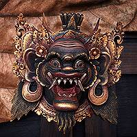 Wood mask, 'Sang Suratama' - Acacia Wood Wall Mask from Indonesia