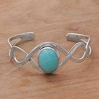 Amazonite cuff bracelet, 'DNA' - Amazonite and Sterling Silver Cuff Bracelet from Bali