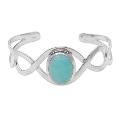Amazonite and Sterling Silver Cuff Bracelet from Bali