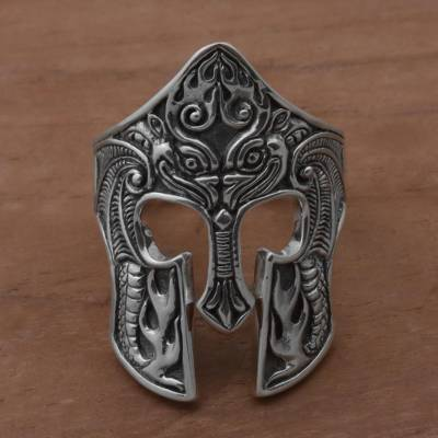 Men's sterling silver cocktail ring, 'Brawijaya Mask' - Sterling Silver Men's Dragon Balinese Warrior Ring