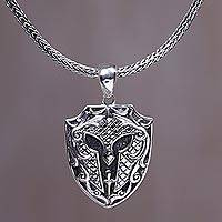 Men's sterling silver pendant necklace, 'Kertanegara Mask' - Sterling Silver Men's Pendant Necklace from Indonesia
