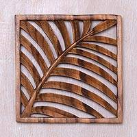 Wood relief panel, Tropical Vibes - Hand Carved Suar Wood Wall Relief Panel from Indonesia