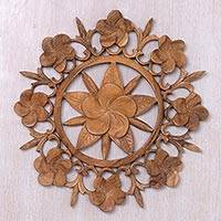 Wood relief panel, 'Jepun Bouquet' - Hand Carved Suar Wood Floral Relief Panel from Indonesia