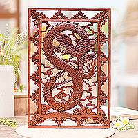 Wood relief panel, 'Garuda and Dragon' - Hand Carved Suar Wood Wall Relief Panel from Indonesia