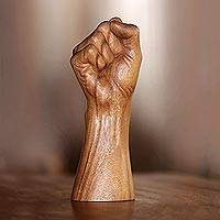 Wood sculpture, 'Survivor' - Realistic Bali Power Sign Hand Sculpture in Hand Carved Wood